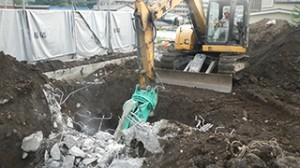 青梅市 鉄骨ブロック造3階建てアパート解体工事11(基礎解体)