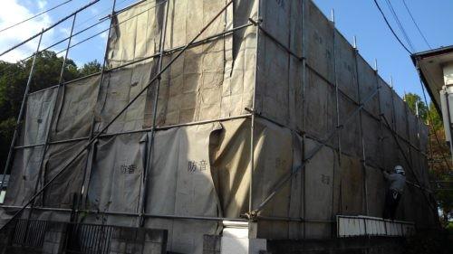小平市 木造解体2  養生、瓦下ろし作業