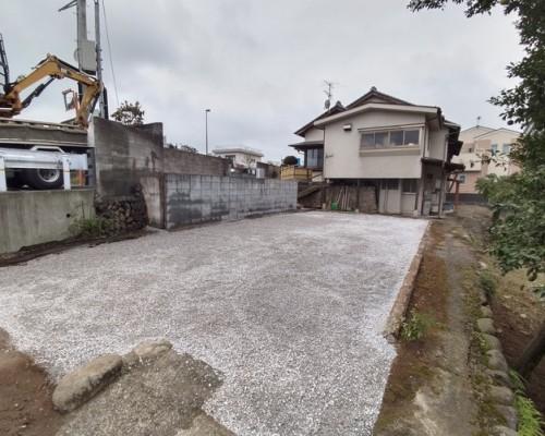 青梅市 木造 車庫 工場解体工事 砂利引き工事